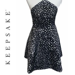 KEEPSAKE Black Leopard Print Halter Dress